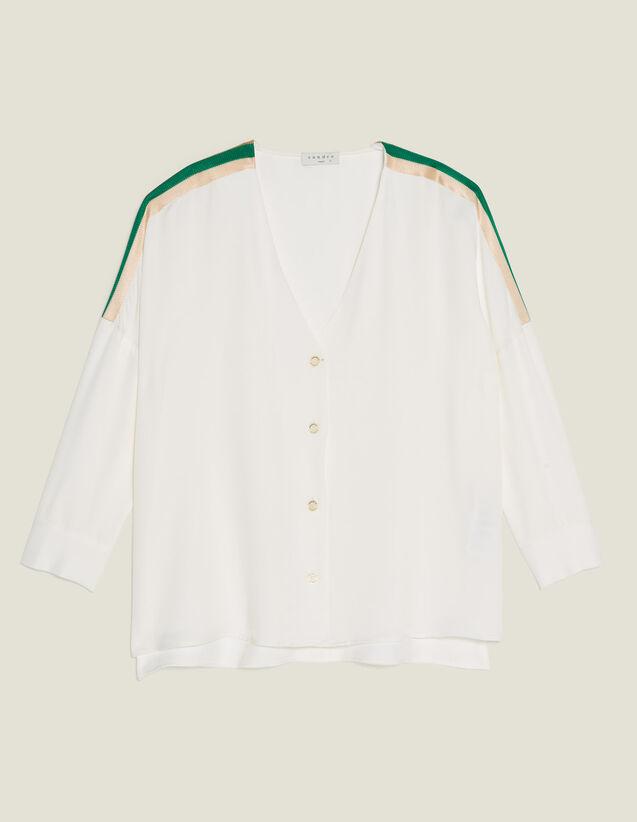 Camicia Con Finiture A Coste Grafiche : null colore Ecru