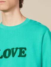 Felpa Con Scritta : Collezione Invernale colore Verde Acqua