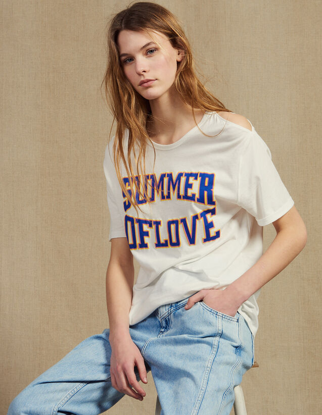 T-Shirt Con Inserti Sulle Spalle : LastChance-FR-FSelection colore Bianco