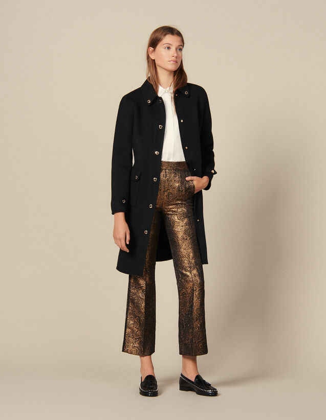 Pantalon De Tailleur Évasé En Brocard : Pantalons couleur Or