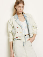 Giacca in jeans délavé : Giacche & Giubbotti colore Blu denim