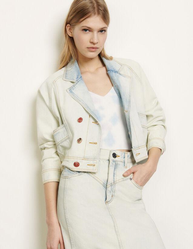 Veste en jean délavée : FNouvelle-Collection-Ete couleur Bleu Denim