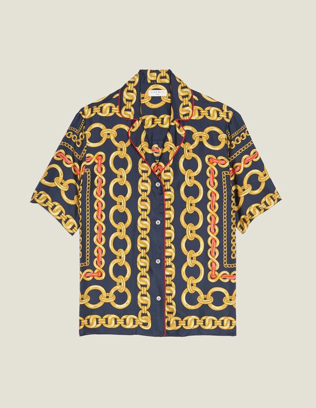 Camicia Stampata A Maniche Corte : null colore Blu Marino
