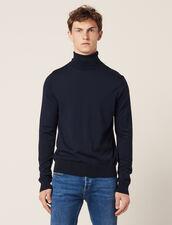 Pullover A Collo Alto In Lana : Maglioni & Cardigan colore Blu Marino