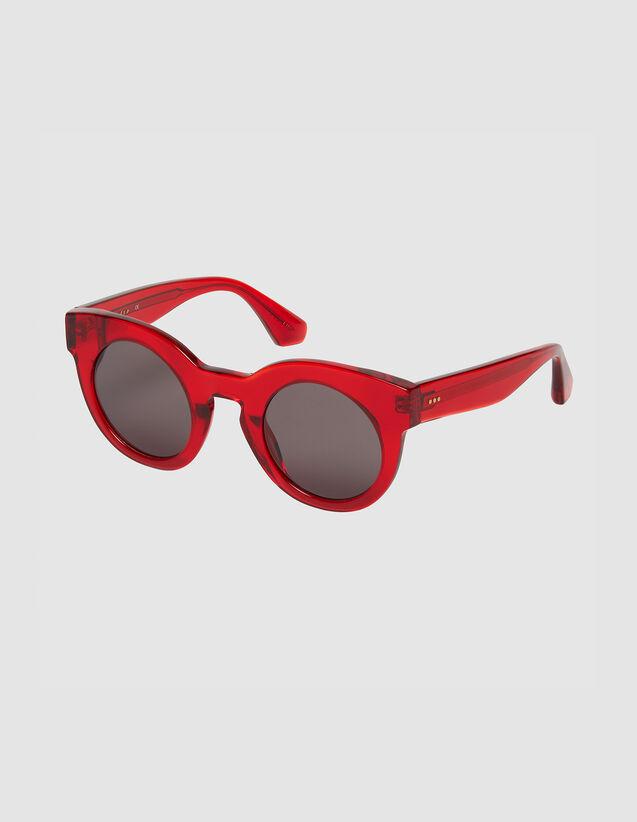Lunettes De Soleil Ronde Oversize : FLunettes couleur Rouge