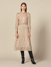 Robe Midi En Soie Lurex Imprimée : Robes couleur Beige