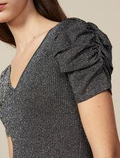 Top In Maglia Lurex Con Maniche A Sbuffo : Top & Camicie colore Argento