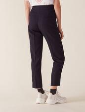 Pantaloni Da Tailleur Linea Dritta : null colore Blu Marino