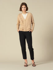 Cardigan Con Volant Asimmetrico : FBlackFriday-FR-FSelection-Pulls&Cardigans colore Cammello