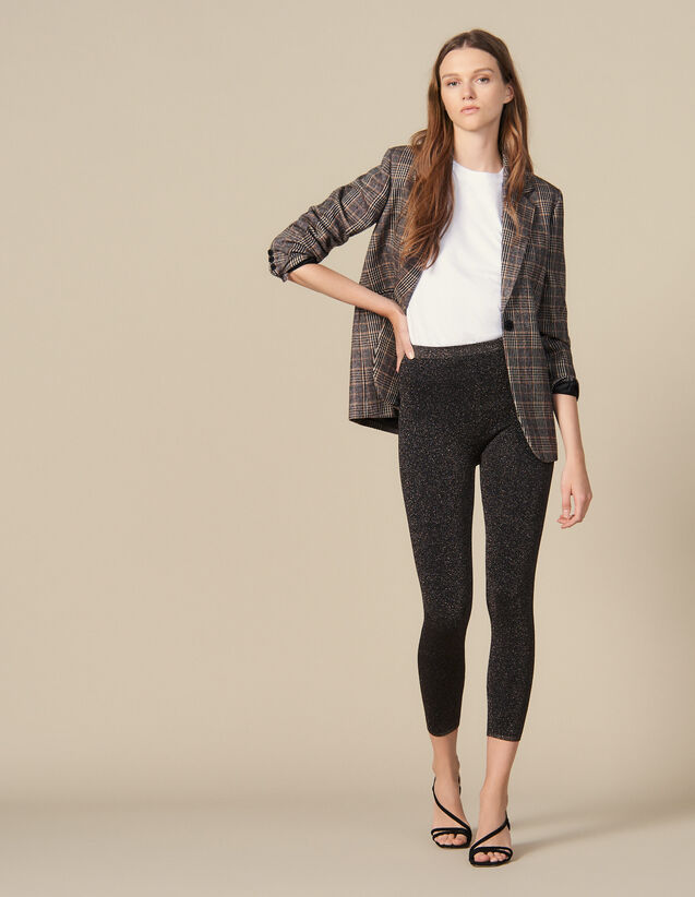 Legging en maille lurex : Pantalons couleur BURGUNDY