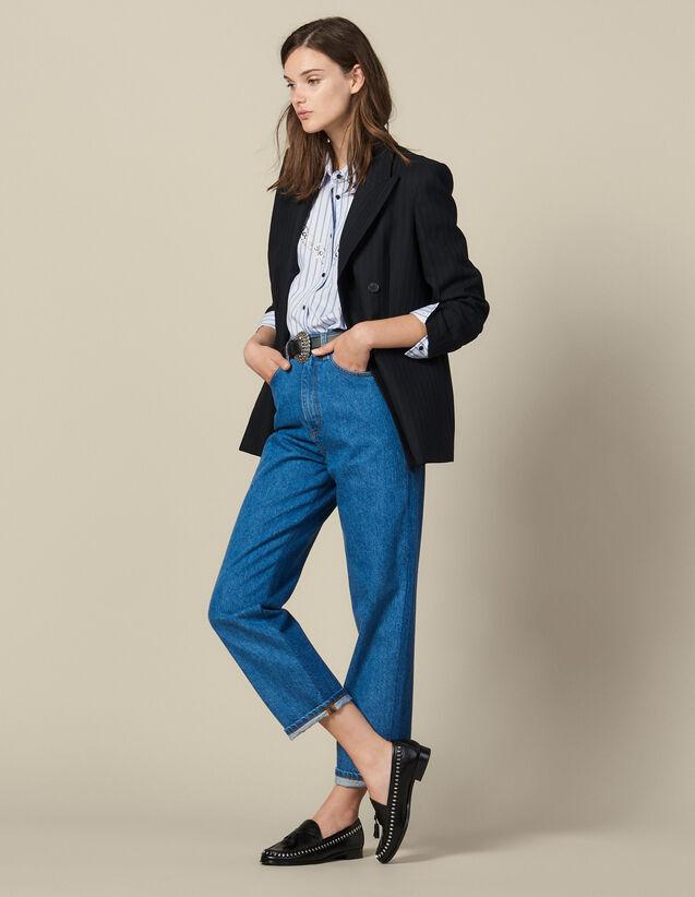 Jeans Linea Mom Bicolore : Jeans colore Blu denim