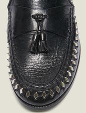 Mocassini in pelle increspata con pompon : Tutte le Scarpe colore Nero