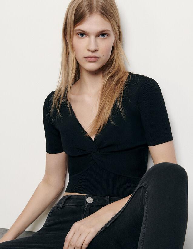Top corto in maglia a coste : Top & Camicie colore Nero