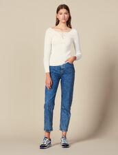Pullover Con Scollo Allacciato : LastChance-ES-F50 colore Bianco