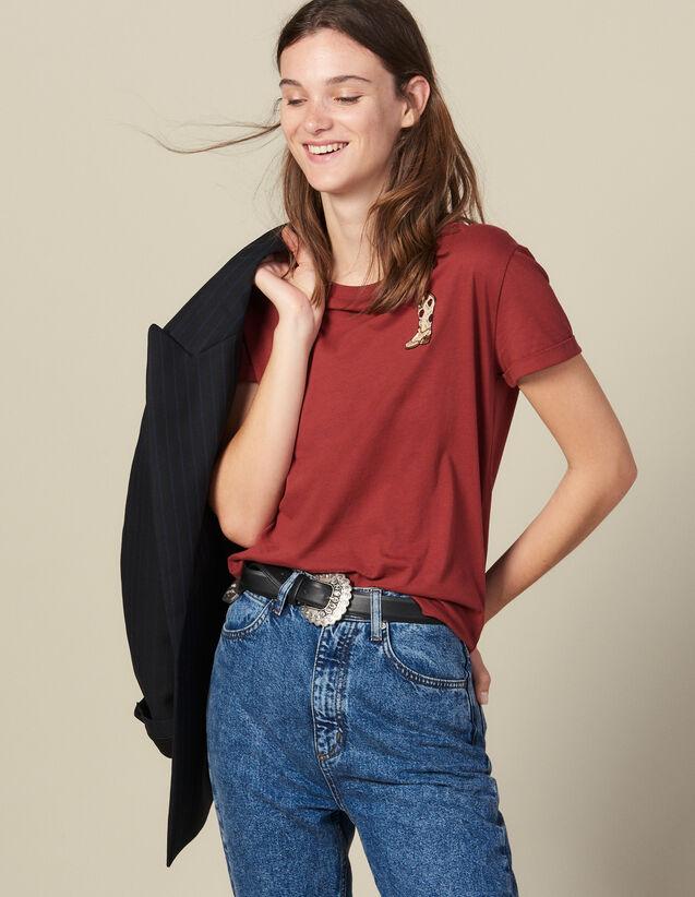 T-Shirt Con Applicazione Ricamata : Magliette colore Bordeaux