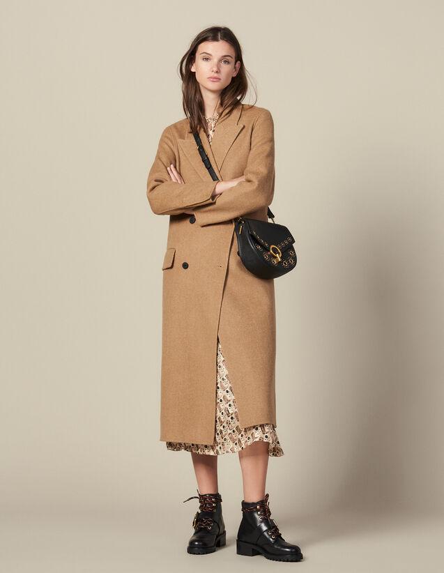 Cappotto Lungo In Lana Double Face : Cappotti colore Beige Screziato