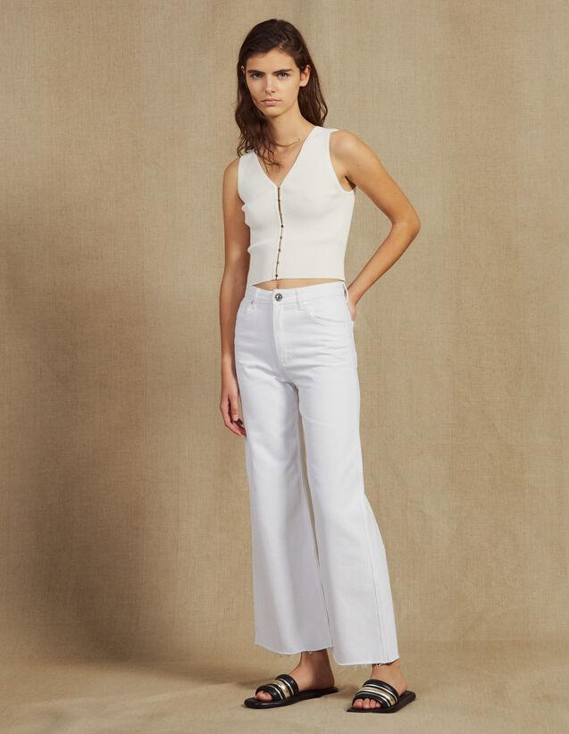 Jean Évasé Taille Haute : null couleur Blanc