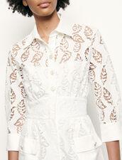 Abito a camicia lungo in sangallo : Abiti colore Bianco