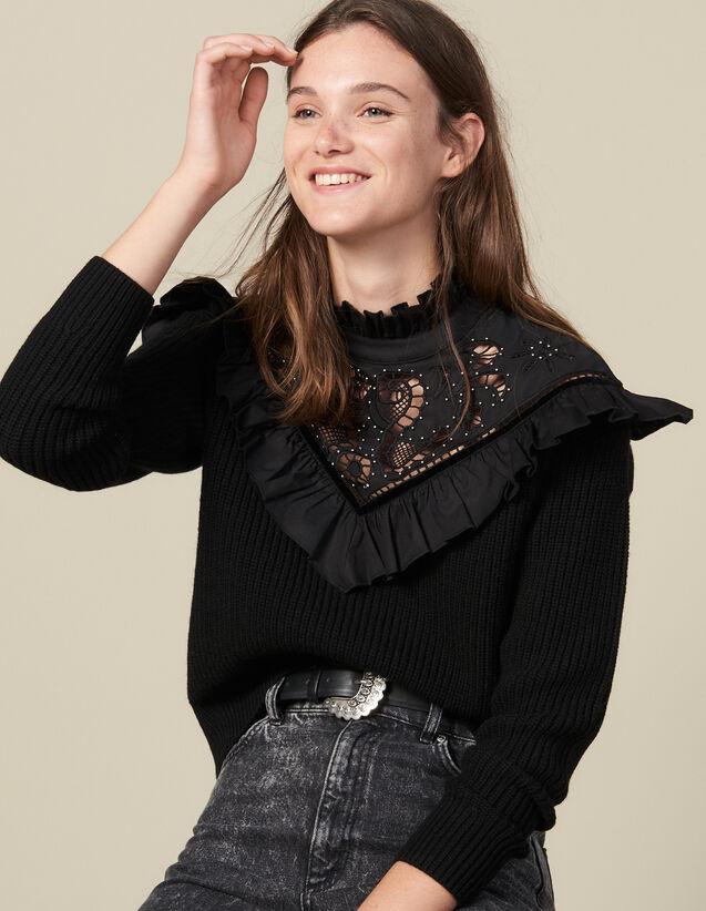 Pullover con pettino in sangallo : Maglieria & Cardigan colore Nero