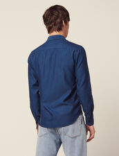 Camicia In Tessuto Chevron Tono Su Tono : Camicie colore Blu