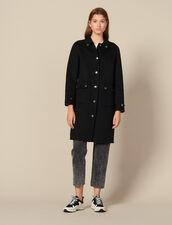 Cappotto in lana con bottoni dorati : Cappotti colore Nero