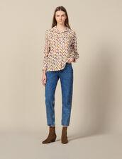 Chemise Imprimée Ornée De Volants : Tops & Chemises couleur Ecru