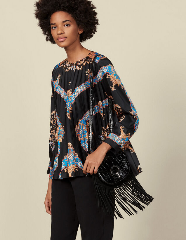 Top fluido plissettato stampa piazzata : Top & Camicie colore Nero
