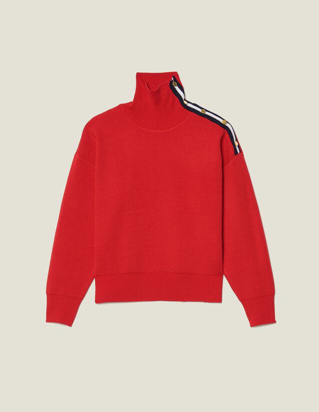 Pull col montant orné de pressions : Pulls & Cardigans couleur Rouge