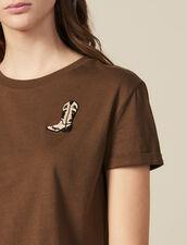 T-Shirt Con Applicazione Stivali : Magliette colore Cachi