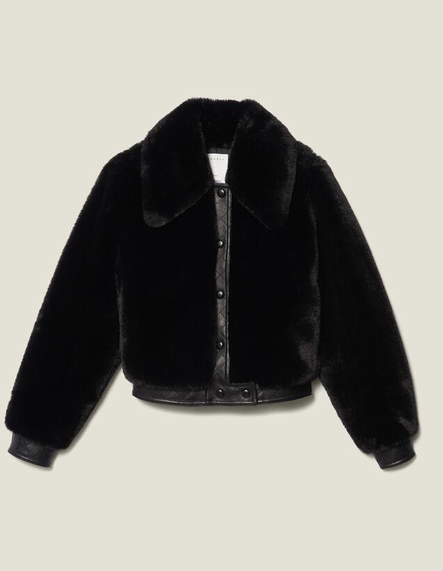 Bombers En Fourrure Synthétique : Blousons & Vestes couleur Noir