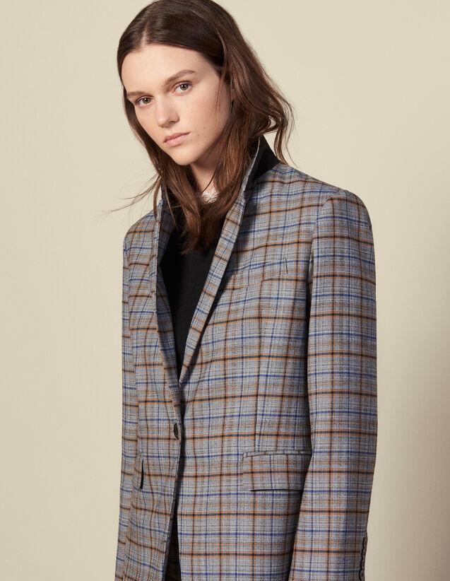 Blazer in lana a quadri : Giacche & Giubbotti colore Grigio