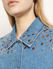 Camicia in jeans con strass multicolore : Top & Camicie colore Blue jeans