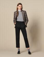 Pantaloni sciancrati con nervature : Pantaloni colore Nero