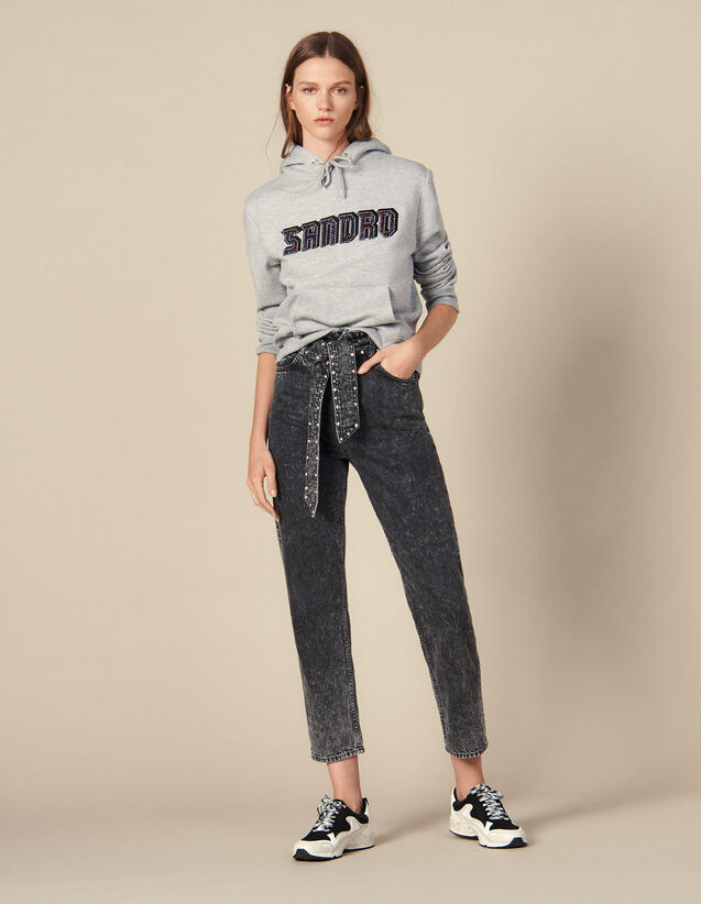 Jeans Snow Washed Con Borchie : Jeans colore Nero