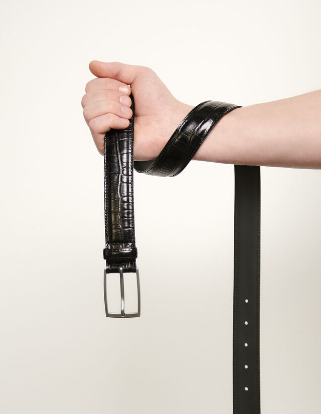 Cintura in pelle goffrata : Cinture colore Nero