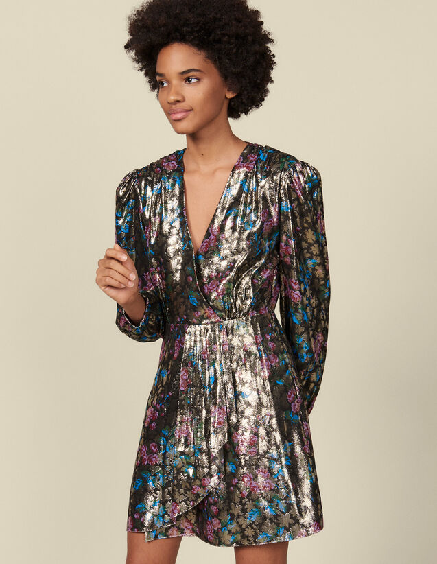 Robe courte en jacquard lurex : Robes couleur Multicolore