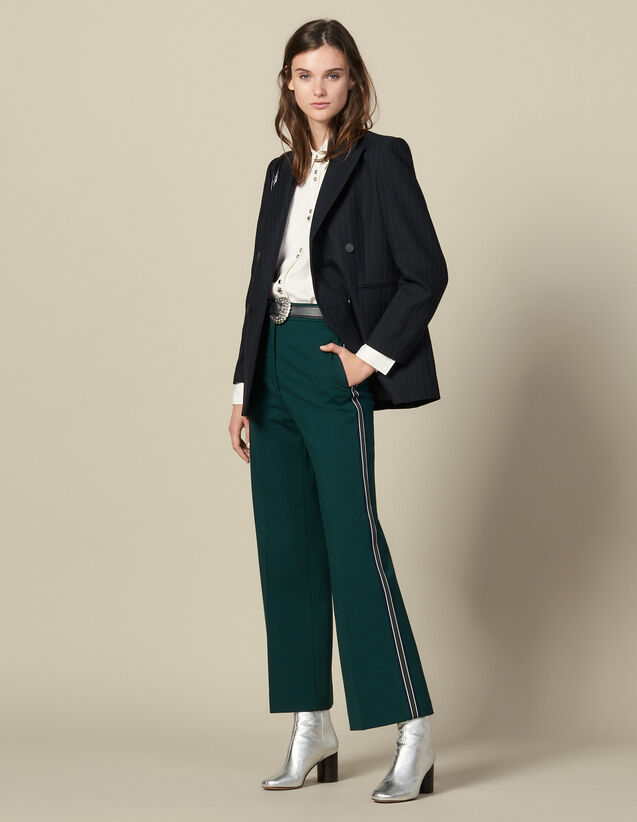 Pantalon large à galons tricolores : FBlackFriday-FR-FSelection-30 couleur verde