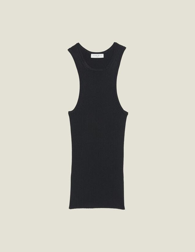 Top In Maglia A Coste Senza Maniche : Top & Camicie colore Nero