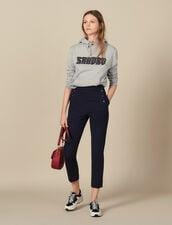 Pantaloni affusolati a ponte : Pantaloni colore Blu Marino