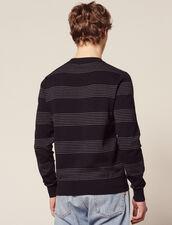 Pullover In Cotone A Righe Sottili : Maglioni & Cardigan colore Blu Marino