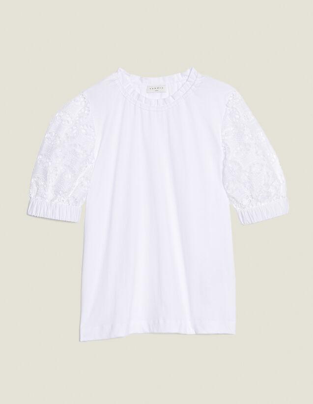 T-Shirt Con Maniche In Pizzo : null colore Bianco