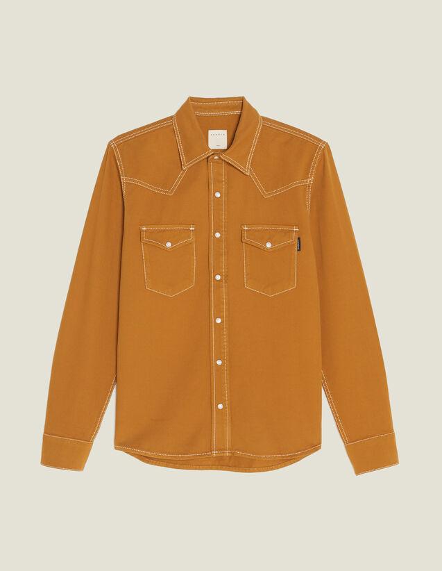 Camicia In Tela Di Cotone : Camicie colore Ocra