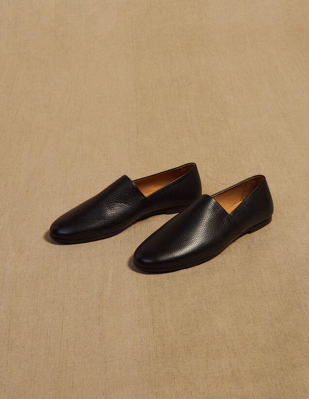 Slipper In Pelle A Grana : Scarpe colore Nero