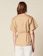 Camicia In Cotone A Maniche Corte : null colore Beige