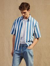 Camicia Casual A Righe Con Maniche Corte : Sélection Last Chance colore Blu