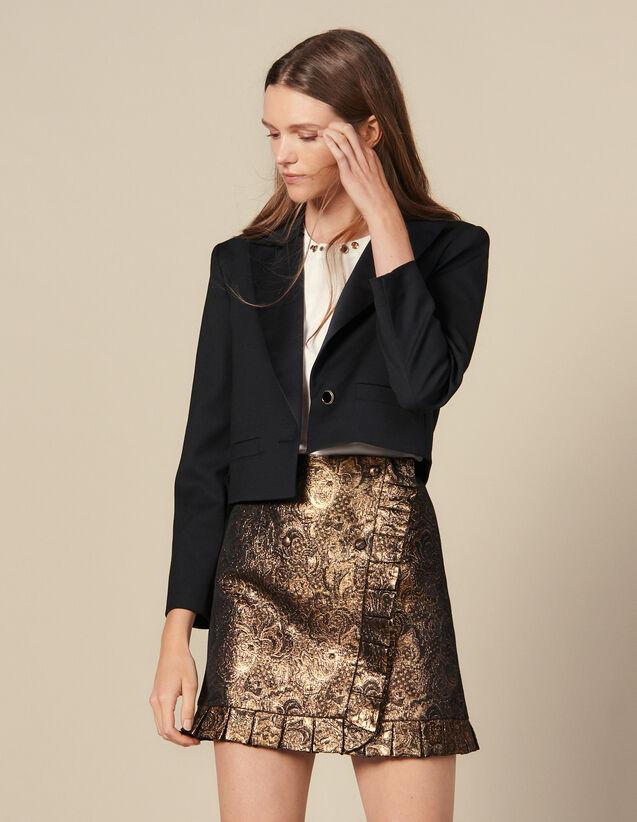 Jupe En Brocard Effet Portefeuille : FBlackFriday-FR-FSelection-Jupes&Shorts couleur Or
