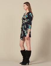 Robe courte imprimée à ceinture drapée : LastChance-ES-F50 couleur Noir