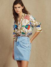 Gonna Corta In Jeans Con Impunture : LastChance-FR-FSelection colore Blue Vintage - Denim