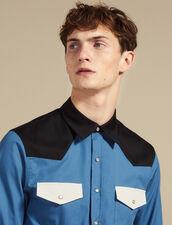 Camicia Stile Western Color-Block : SOLDES-CH-HSelection-PAP&ACCESS-2DEM colore Blu