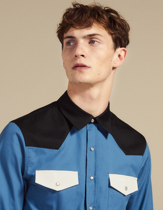 Camicia Stile Western Color-Block : Camicie colore Blu